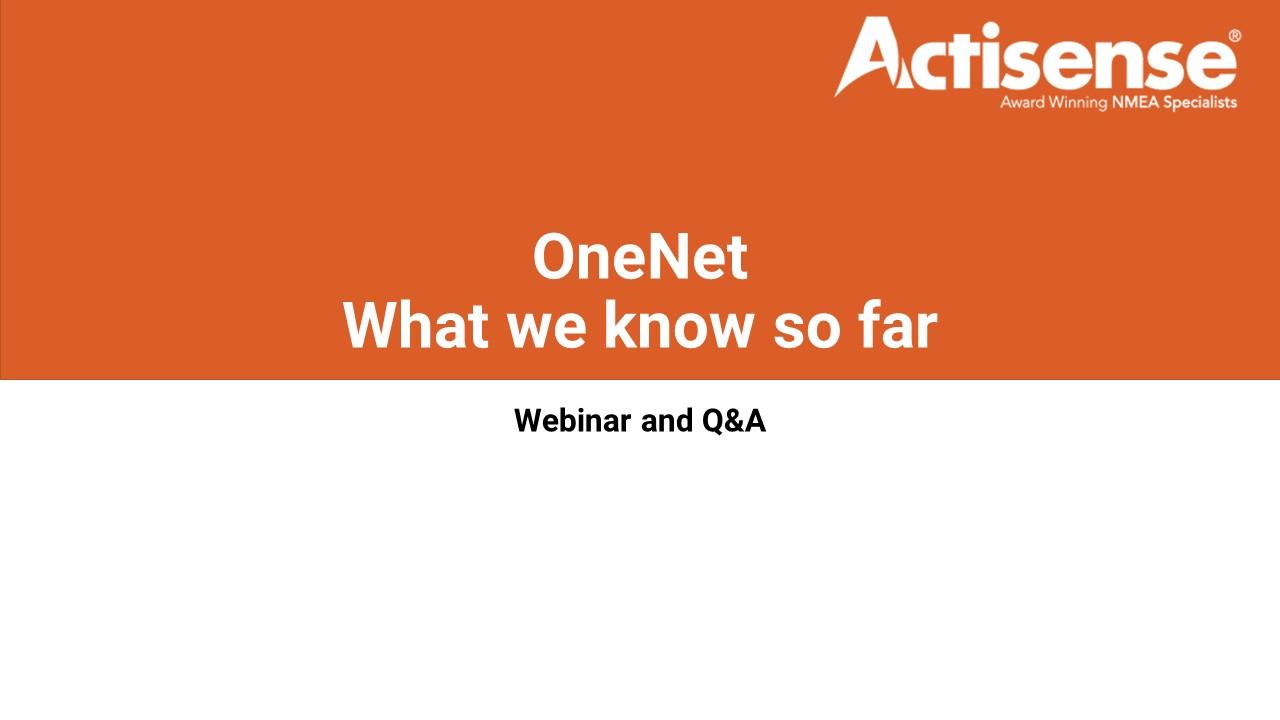 OneNet Presentation - What we know so far